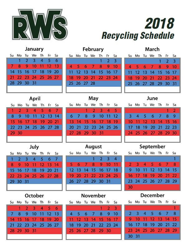 Blue & Red Weeks - Recycling Pickup